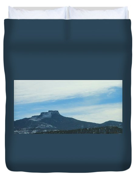 Duvet Cover featuring the photograph Fishers Peak Raton Mesa In Snow by Christopher Kirby