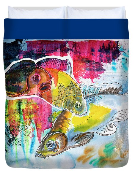 Duvet Cover featuring the painting Fishes In Water, Original Painting by Ariadna De Raadt
