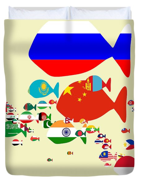 Fishes Map Of Asia Duvet Cover