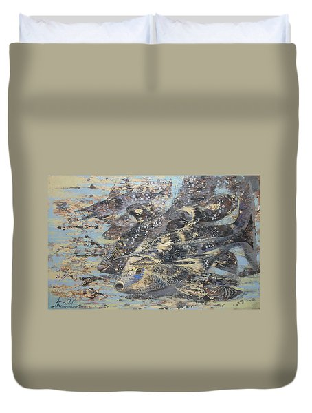 Fishes. Monotype Duvet Cover