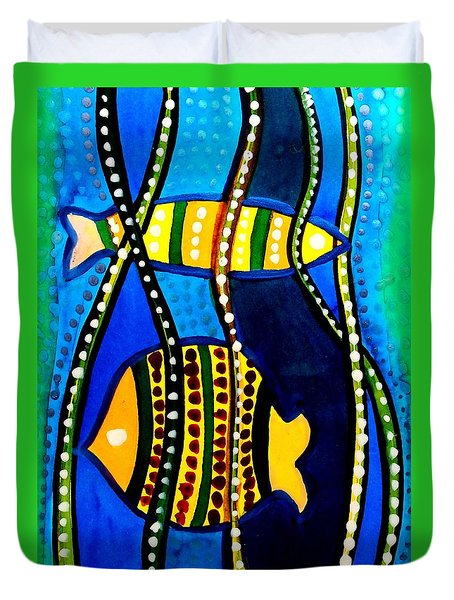 Duvet Cover featuring the painting Fishes With Seaweed - Art By Dora Hathazi Mendes by Dora Hathazi Mendes