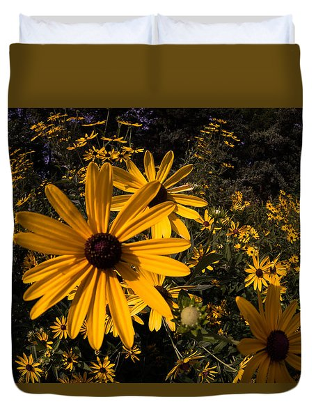 Duvet Cover featuring the photograph Fisheye Flowers by Jay Stockhaus