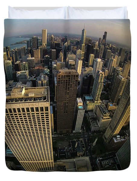 Fisheye View Of Dowtown Chicago From Above  Duvet Cover