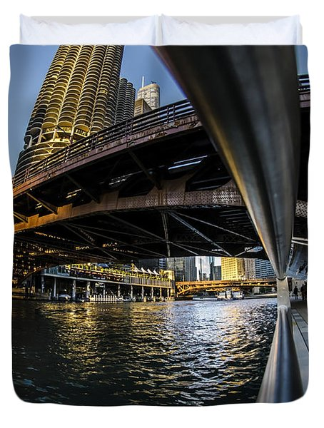 Fisheye View From The Chicago Riverwalk Duvet Cover