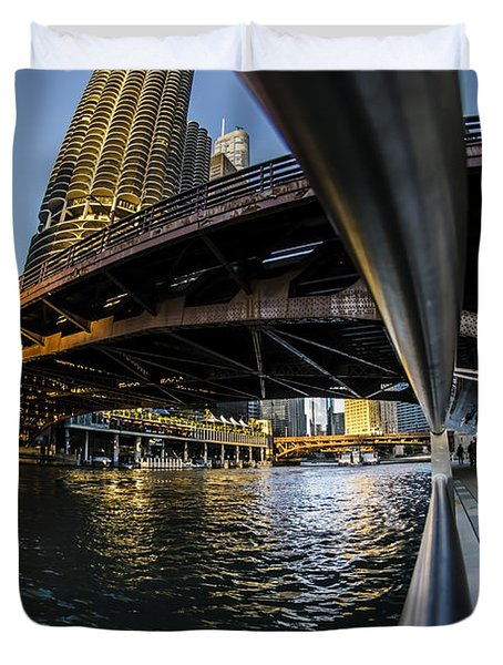 Fisheye View From The Chicago Riverwalk Duvet Cover
