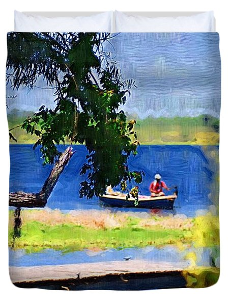 Duvet Cover featuring the photograph Fishin by Donna Bentley
