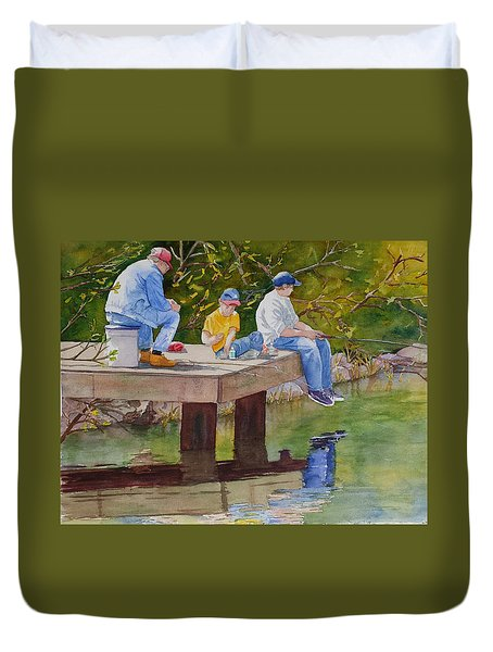 Duvet Cover featuring the painting Fishin' by Judy Mercer
