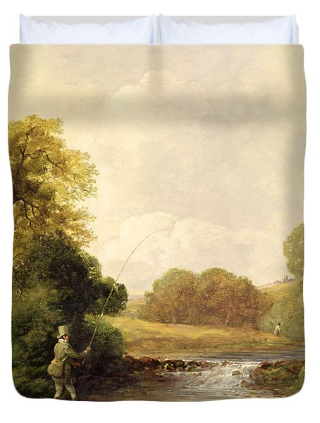 Fishing - Playing A Fish Duvet Cover by William E Jones
