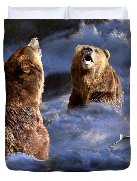 Fishing Alaska Duvet Cover