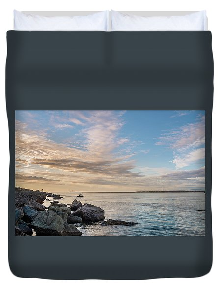 Fishing Along The South Jetty Duvet Cover by Greg Nyquist