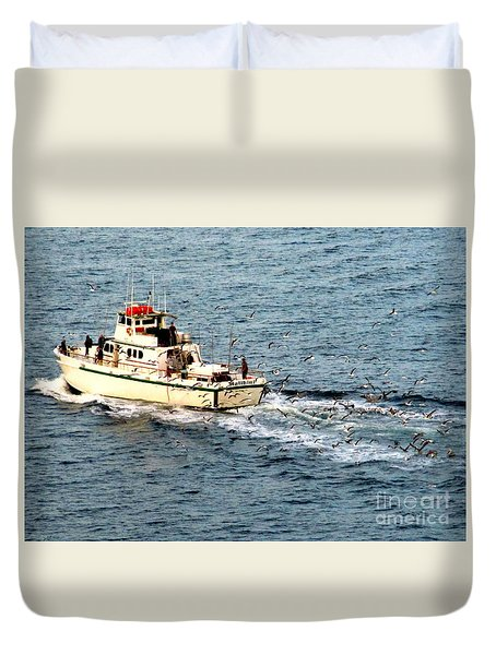 Duvet Cover featuring the photograph Fishing And Seagulls by Randall Weidner