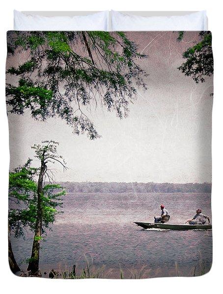 Fishing At Reelfoot Lake Duvet Cover