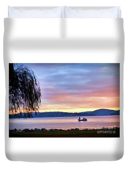 Duvet Cover featuring the photograph Fishing At Sunrise - Claytor Lake State Park by Kerri Farley