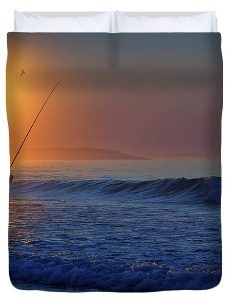 Fishing At Sunrise Duvet Cover