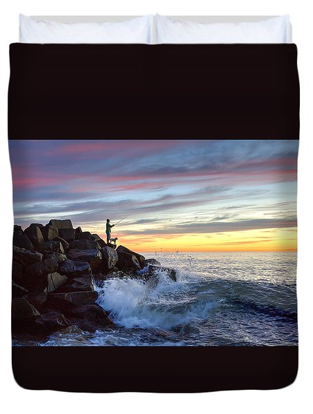 Fishing At Sunset Duvet Cover by Ann Patterson