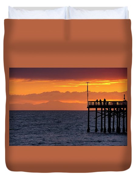 Duvet Cover featuring the photograph Fishing At Sunset by Quality HDR Photography