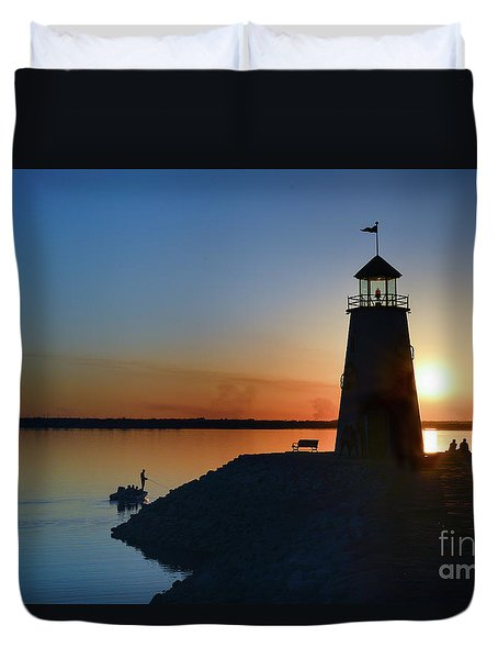 Fishing At The Lighthouse Duvet Cover