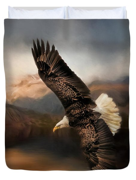 Fishing At The Mount Duvet Cover by Jai Johnson