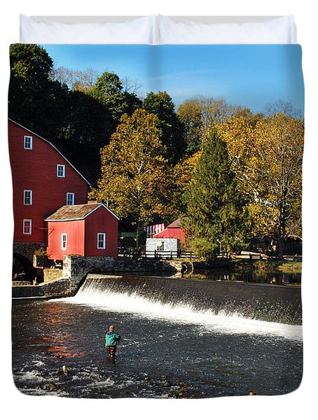 Fishing At The Old Mill Duvet Cover