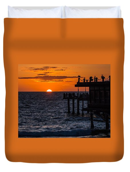Fishing At Twilight Duvet Cover