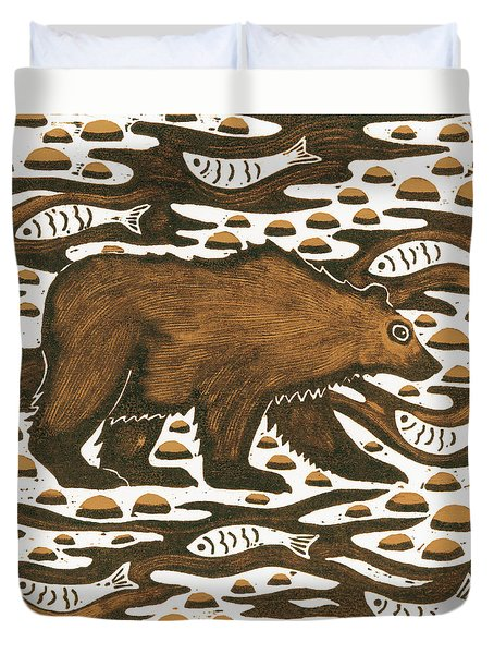 Fishing Bear Duvet Cover by Nat Morley