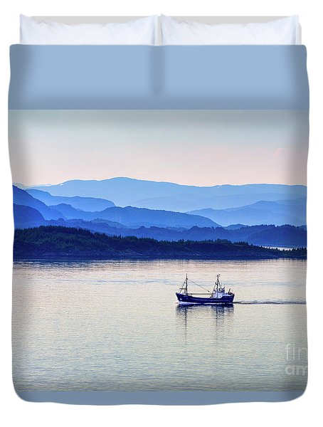 Fishing Boat At Dawn Duvet Cover