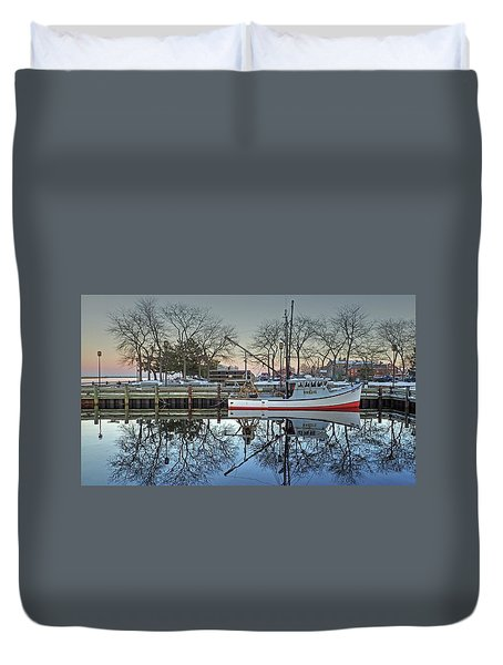 Duvet Cover featuring the photograph Fishing Boat At Newburyport by Wayne Marshall Chase
