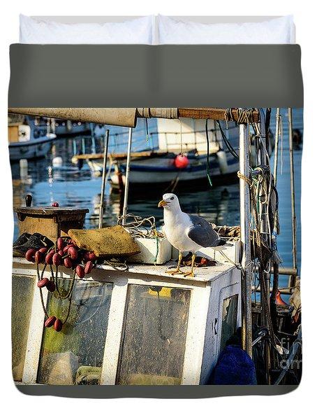 Fishing Boat Captain Seagull - Rovinj, Croatia Duvet Cover