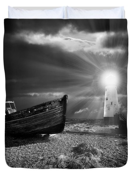 Duvet Cover featuring the photograph Fishing Boat Graveyard 7 by Meirion Matthias