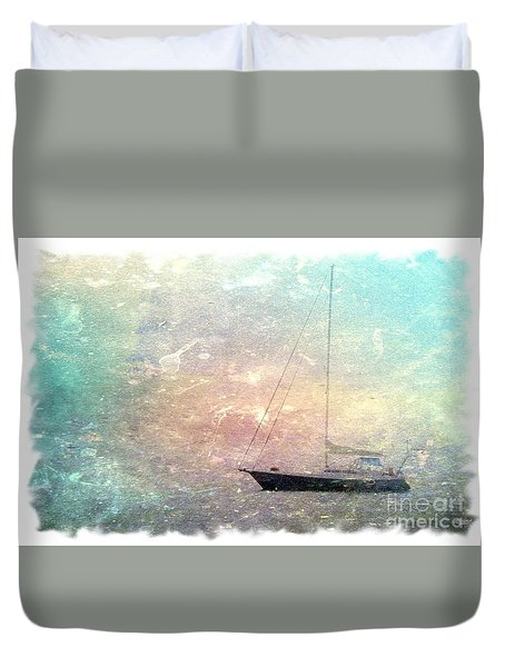 Fishing Boat In The Morning Duvet Cover