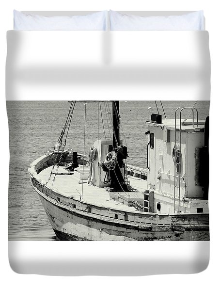 Fishing Boat Duvet Cover by Lois Lepisto