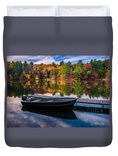 Duvet Cover featuring the photograph Fishing Boat On Mirror Lake by Rikk Flohr