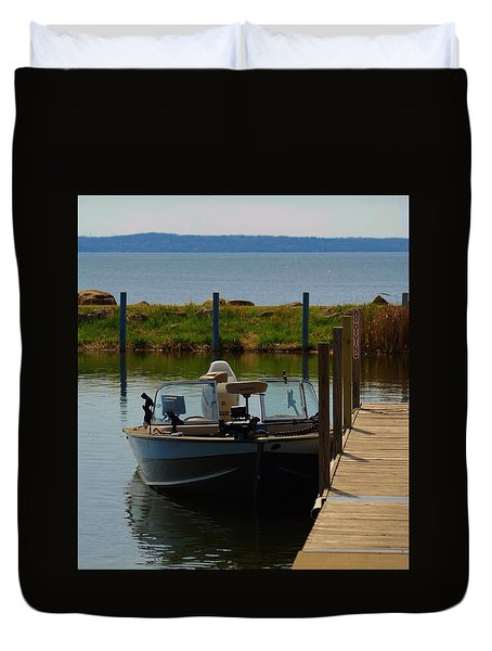 Duvet Cover featuring the photograph Fishing Boat by Ramona Whiteaker