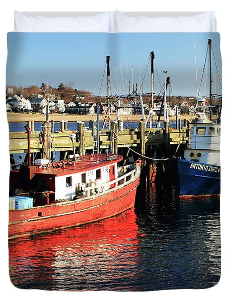 Duvet Cover featuring the photograph Fishing Boats At Provincetown Wharf by Roupen  Baker
