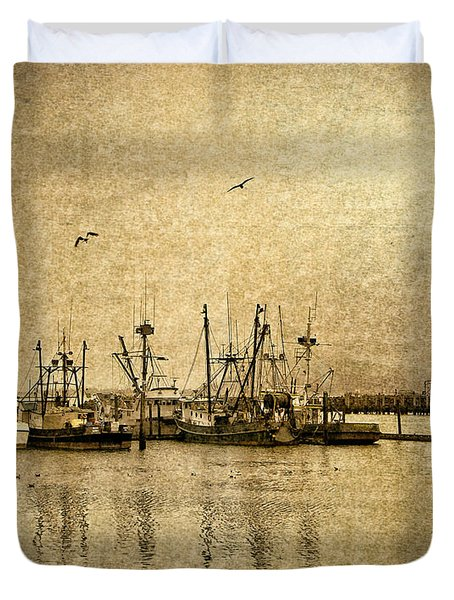 Duvet Cover featuring the photograph Fishing Boats Columbia River In Sepia by Susan Parish
