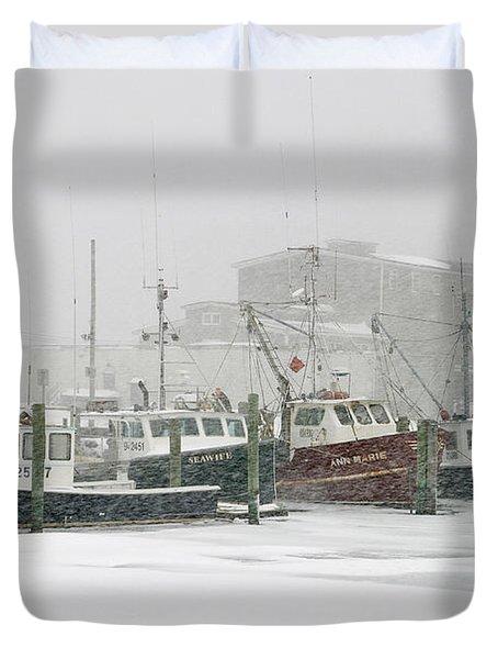 Fishing Boats During Winter Storm Sandwich Cape Cod Duvet Cover by Matt Suess