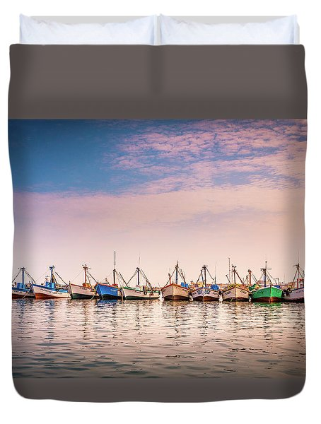 Duvet Cover featuring the photograph Fishing Boats by Gary Gillette