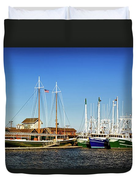 Fishing Boats In Cape May Harbor Duvet Cover