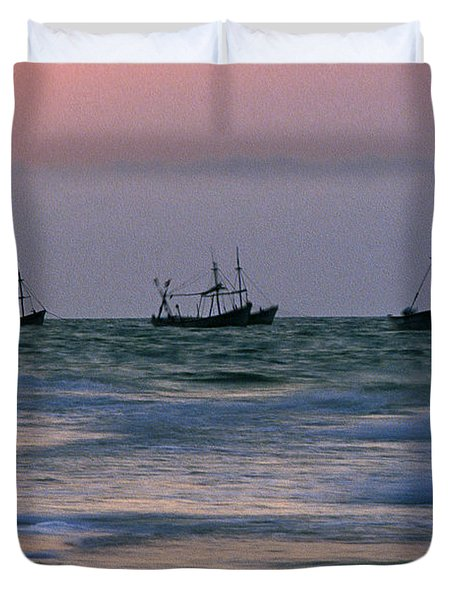 Fishing Boats Duvet Cover by Michael Mogensen