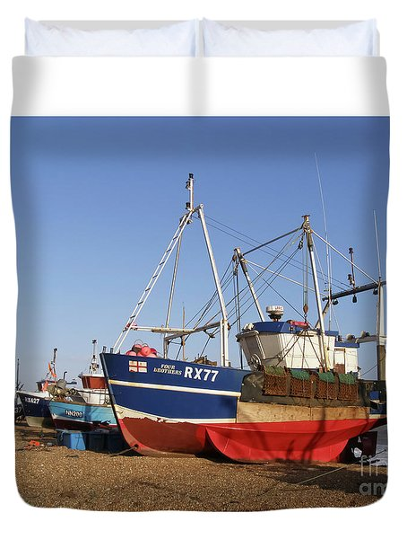 Fishing Boats On Hastings Stade Duvet Cover by Terri Waters
