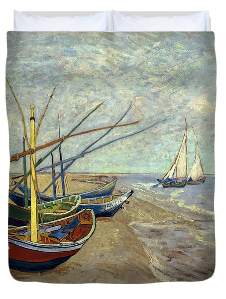 Duvet Cover featuring the painting Fishing Boats On The Beach by Van Gogh