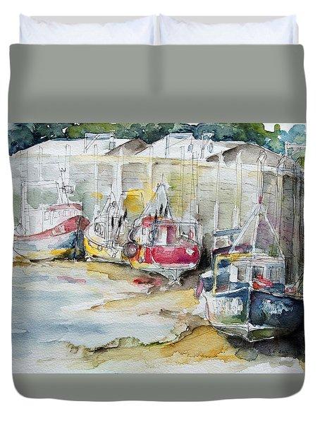 Fishing Boats Settled Aground During Ebb Tide Duvet Cover by Barbara Pommerenke
