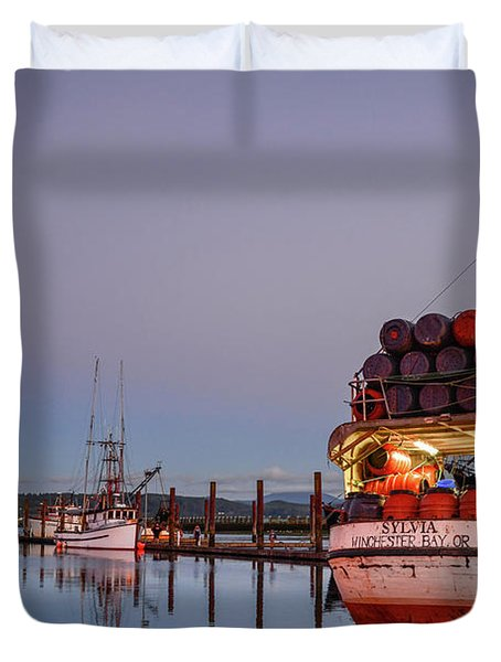 Fishing Boats Waking Up For The Day Duvet Cover
