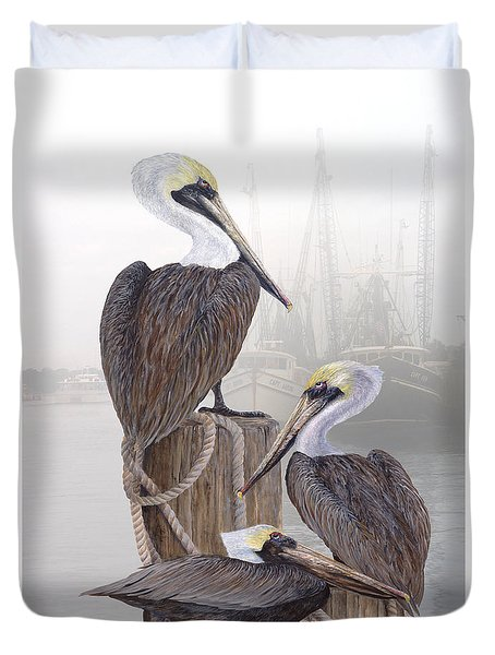 Fishing Buddies Duvet Cover by Kevin Brant