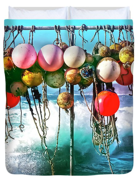 Duvet Cover featuring the photograph Fishing Buoys by Terri Waters
