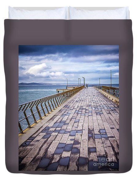 Duvet Cover featuring the photograph Fishing Day by Perry Webster