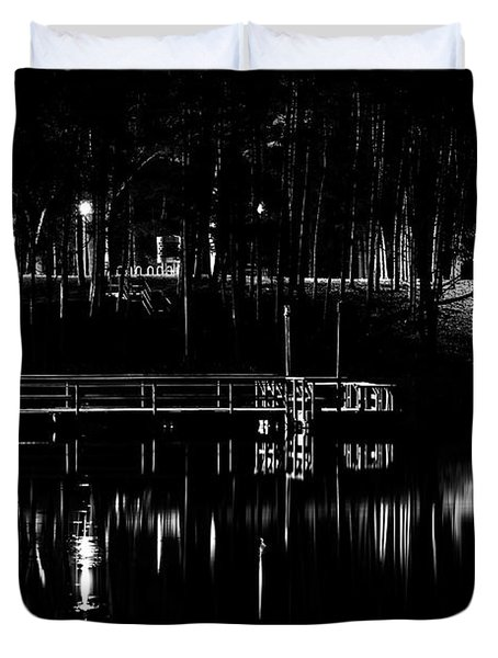 Fishing Dock At Night 2017  Duvet Cover by Thomas Young