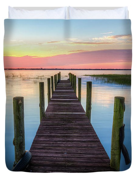 Duvet Cover featuring the photograph Fishing Dock At Sunrise by Debra and Dave Vanderlaan
