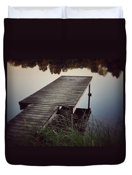 Duvet Cover featuring the photograph Fishing Dock by Karen Stahlros