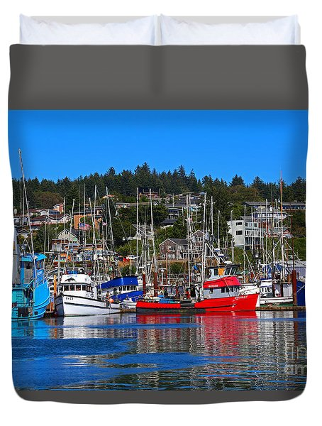 Fishing Fleet At Newport Harbor Duvet Cover